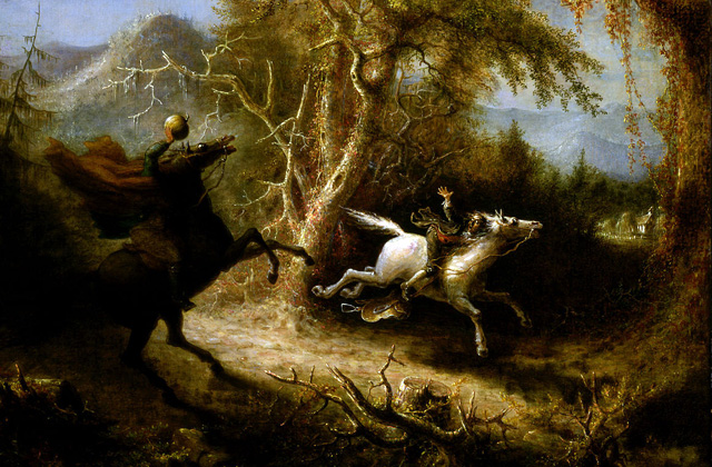 The Headless Horseman Pursuing Ichabod Crane by John Quidor, 1858