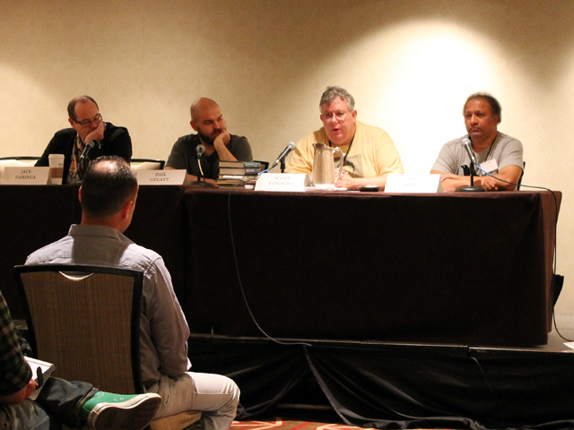 Left to right: Jack Haringa, Phillip Gelatt, Scott Connors, and ST Joshi discuss Clark Ashton Smith's love of strange. And I mean that in the Urban Dictionary sense.